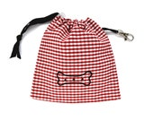 Bone Print Treat Bag - Red Gingham
