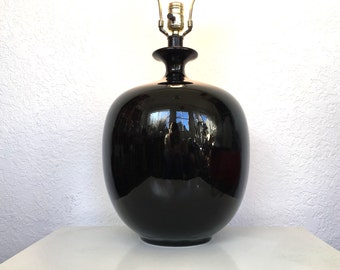 Large Black Ceramic Lamp