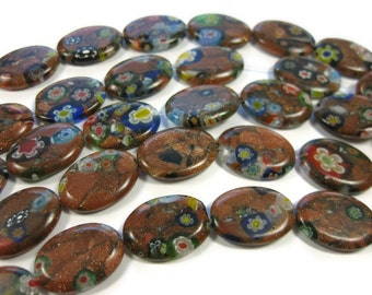 25 Gold Sand Millefiori Oval Beads