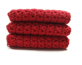 Red Crochet Cotton Dish Cloth Wash Cloth Set of Three