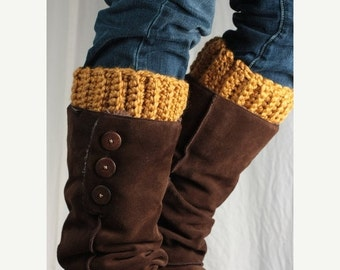 Sale Boot cuff, boot topper, wool, gold yellow,