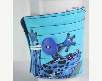 Winter Clearance cup cozy, coffee cup sleeve cosy, fabric, quilted, blue: frogs, tree frogs