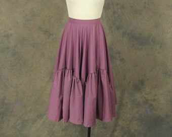 vintage 50s Circle Skirt - Purple Tiered Full Skirt 1950s Country Western Square Dance Skirt Sz XS