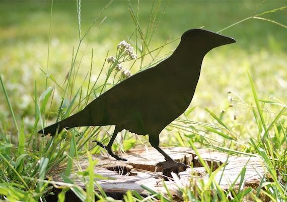 Crow Yard Art, Outdoor Raven Lawn Ornament