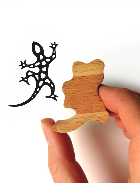 Gecko Stamp, Harlequin Gecko Rubber Stamp for Scrapbooking