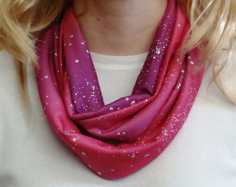 Fuchsia and Pink Shimmer Infinity Scarf - Silver Glitter Circle Scarf - Loop Scarf - Forever Scarf - Rhode Island