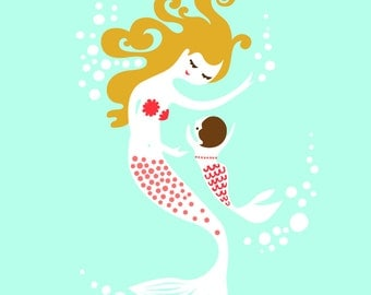 """8X10"""" mermaid mother & baby daughter giclee print on fine art paper. Turquoise, pink, dark blonde and brunette."""