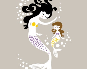"8X10"" mermaid mother & daughter giclee art print on fine art paper. taupe gray, yellow, purple, black, brunette."