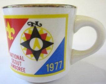 Vintage National Scout Jamboree 1977 Boy Scouts B.S.A Coffee Mug White Cup USA Gift Gold Rim