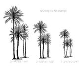 Set of 3 African PALM TREES- CLiNG rubber stamps by Cherry Pie Art Stamps