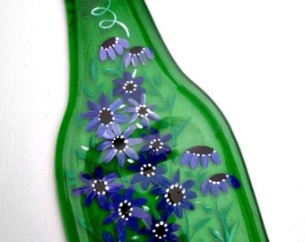 Spoon Rest, Kitchen Trivet,  Melted Green Beer Bottle,  Hand Painted Blue and Purple Flowers,  Candle Holder