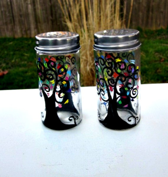 Hand painted salt and pepper shakers table decoration Colorful salt and pepper shakers