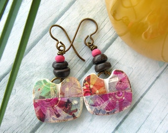 Polymer Clay Earrings Jewelry featuring a Pinwheel Boho Design in Magenta, Orange, Gray and White