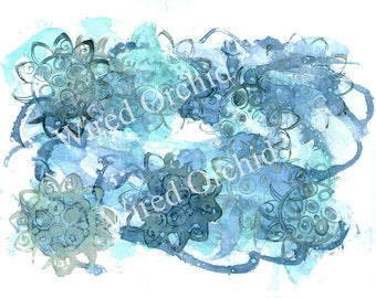 Denim Flowers Laser Copy of Original Alcohol Ink Artwork / Sky Blue, Denim Blue, Turquoise, White Flower Design
