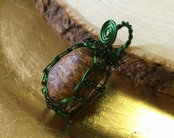 MARIAM JASPER Viking Knit Bezel Wire Wrapped Pendant In Green Coated Copper Wire - Cobra Jasper - Metaphysical - Spiritual - Healing - Reiki
