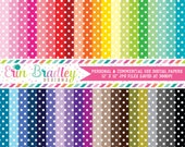 Polka Dotted Digital Paper Pack Bundle Set of 40 Digital Scrapbook Papers Commercial Use OK - Instant Download