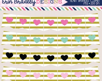 50% OFF SALE Clipart - Heart & Gold Stripes Banners Commercial Use Clip Art Bunting Graphics Set