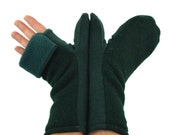 Mens Convertible Mittens in Evergreen and Forest Green - Recycled Wool - Fleece Lined