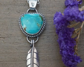 Silver Turquoise Pendant with Silver Leaf Handmade