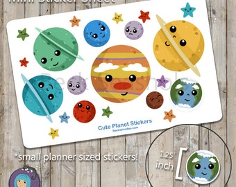 Cute Planets Sticker Sheet - planner stickers - solar system - science