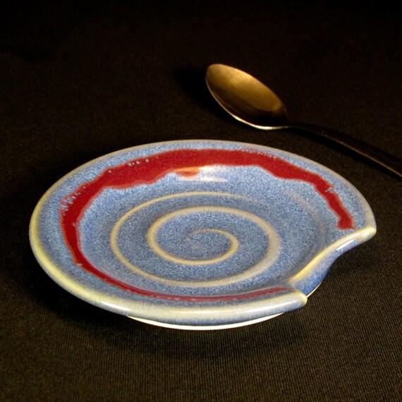 Spoonrest- Spoon Rest- Spoonholder- Spoon Holder- Ceramic Spoon Rest- Pottery Spoon Rest- Blue Spoonrest- Blue Spoon Rest- InStock