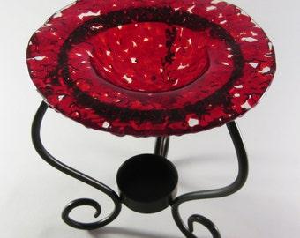 Tart Burner - Red Fused Glass , Oil Burner, Home Decorating, Room Scents, Home Fragrance, Perfume Oil Holder
