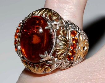 Huge genuine Baltic amber and Madeira citrine gemstone ring set in sterling and gold with platinum overlay size 6 shipping incl U.S and Can