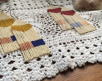 HMW Original Hand beaded Bead Fringe Long Yellow Red Gold Copper Blue Ivory Ode To Suns