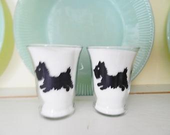 Scottie Dog Juice Glass, Black Dog Juice Glasses, Federal Juice Glass, 1950s Juice Glass