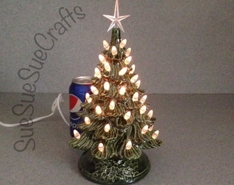 Ceramic CHRISTMAS TREE  11 inches tall Green traditional holiday decoration, clear lights ( Ready to ship) #032416