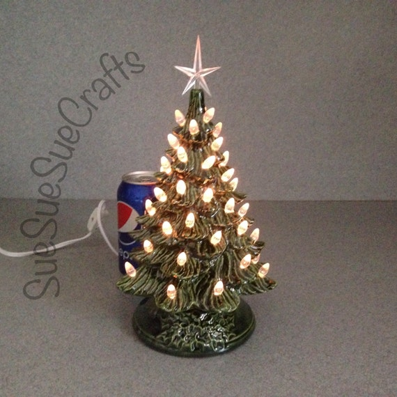 Lighted Christmas Carolers Ceramic Decoration By: Ceramic CHRISTMAS TREE 11 Inches Tall Green Traditional