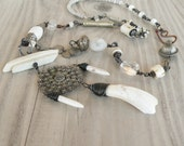 Long White Necklace, Eclectic, Bohemian, Tribal, Asymmetrical, Handmade Jewelry
