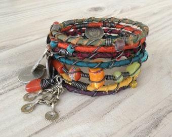 Silk Road Bangle Stack - Muted Rainbow - 7 Piece Bohemian Bracelet Set, Gypsy Tribal, Silk Wrapped