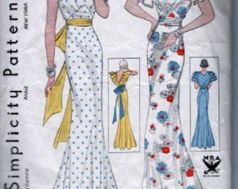 1934 Simplicity 1441 Evening dress pattern bust 36""