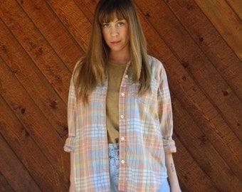 extra 25% off SALE ... Sunbleached Pastel Plaid LS Button Down Shirt - Vintage 90s - MEDIUM