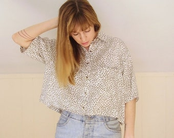 30% off ... Cropped Cheetah Print 80s Vintage Button Front and Back Short Sleeve Blouse Shirt - M L