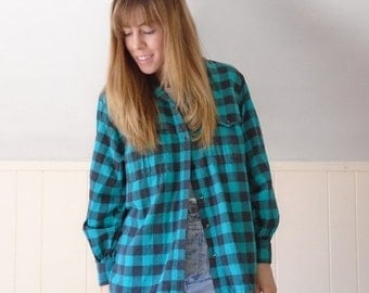 30% off ... Green Buffalo Plaid Flannel Button DOWN Grunge LS Shirt - Vintage 80s - S M