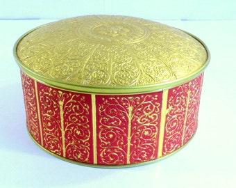 Vintage Red and Gold Filigree  Guildcraft Cookie Fruit Cake Tin Vintage Metal Storage Tin Sewing Tin Storage Tin Gift Tin Treasure Tin