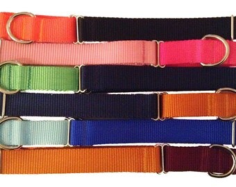 "1"" Solid Nylon Martingale Collar - Pick Your Color"