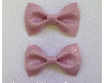 Pin Up Bows Pink Glitter Vinyl Hair Bows Small Light Pink Rockabilly Bow Glitter Bow vinyl bow Pink Bow Retro Sparkle Vinyl Metal Flake Bow