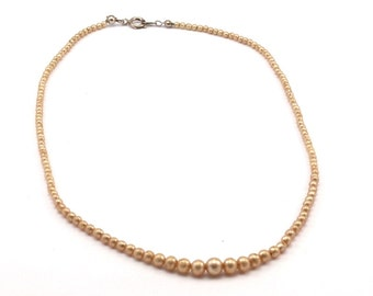 Vintage  Glass Pearl Beads , 3 to 6mm 17 inch. 1 Strand