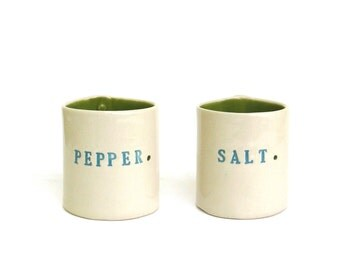 hand built porcelain salt and pepper cellars  ... vessels   ...   container