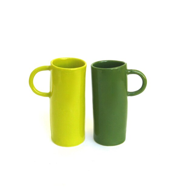 whimsical hand built porcelain cups    ...  green and chartreuse