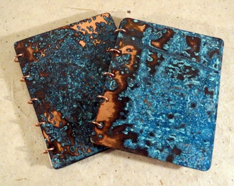 Patinated Copper Blank Journal / Notebook  with 30 pages of Handmade Paper