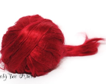 EGYPTIAN RED - Bamboo Viscose Roving Combed Top for Felting or Spinning Cellulose Vegan Fiber 4 oz
