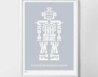 Robot Alphabet Print, Alphabet Print, Robot Print, Children's Prints, Kids Wall Art, Robot Art, Nursery Wall Decor, Letter Print, Kids Art
