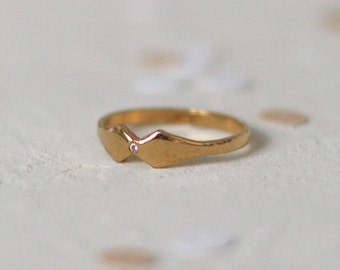 Diamond Kite Ring, Engagement Ring. Kite Shaped Ring. 14K Solid Gold. Dainty Stackable Wedding Ring, Promise, Anniversary