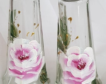 Hand Painted Shabby Pink Roses Salt & Pepper Shakers