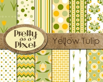 Digital Paper Pack - Yellow Tulips - INSTANT DOWNLOAD - Scrapbooking Backgrounds - 12 x 12 - Set of 12