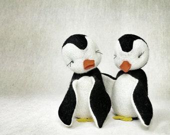 Wool Penguin - Plush, Holiday Decor, Toy, Handmade, Gift